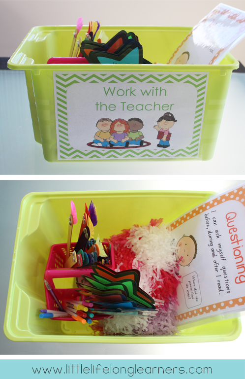 Work with the teacher tub | How I organise my guided reading tub for reading groups | take a peek inside | classroom organisation | free printables | literacy groups |