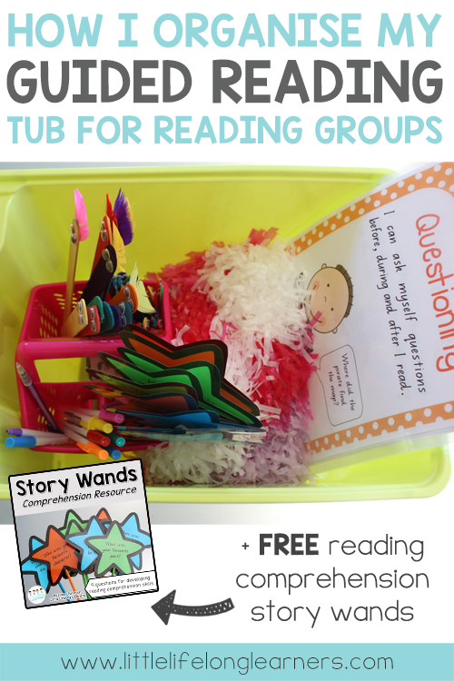 How I organise my guided reading tub for reading groups | classroom organisation | free printables | literacy groups | reading comprehension | story prompts |