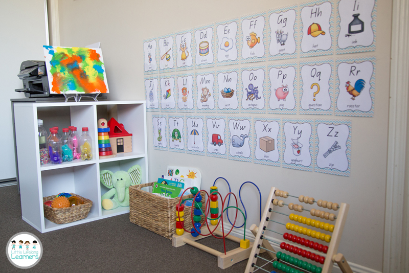 Learning nook with alphabet charts