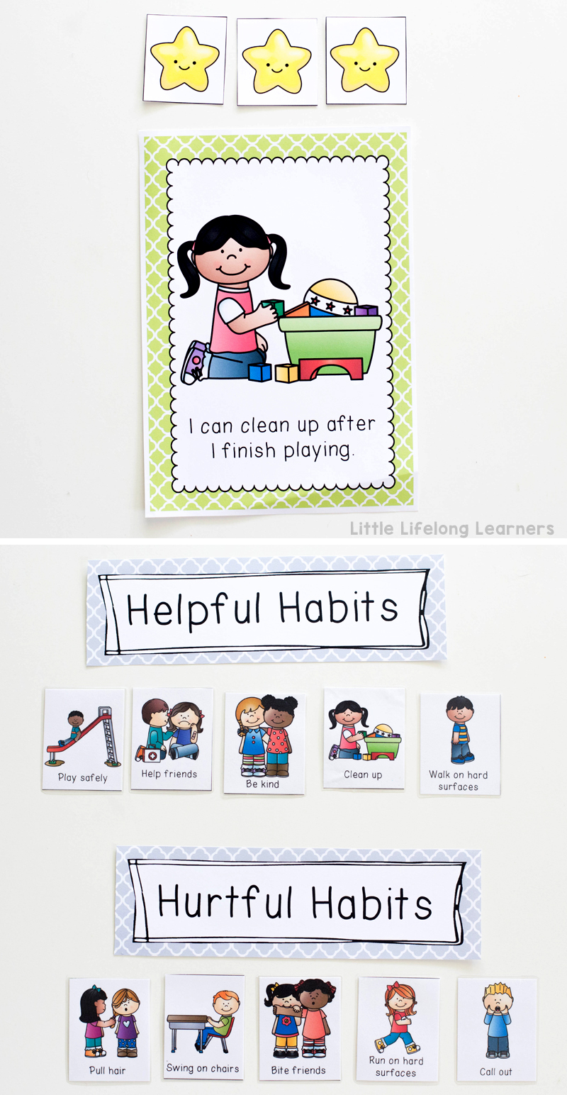 Behaviour management using goal setting and picture sorts | Social stories for setting behaviour expectations and classroom rules | Australian Prep, Foundation, Kindergarten and Preschool teaching printables |