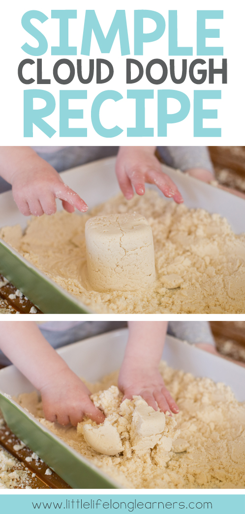 Simple cloud dough recipe for sensory play   messy play for babies and toddlers   easy play ideas   explore the 5 senses  