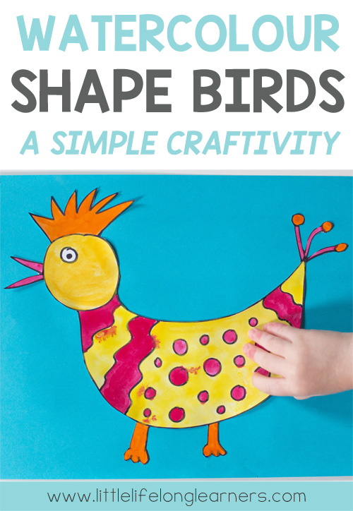 Watercolour shape birds | art lesson for kindergarten students | guided drawing | quick and easy art