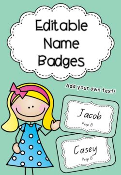 Editable Name Badges - Aqua - Cover