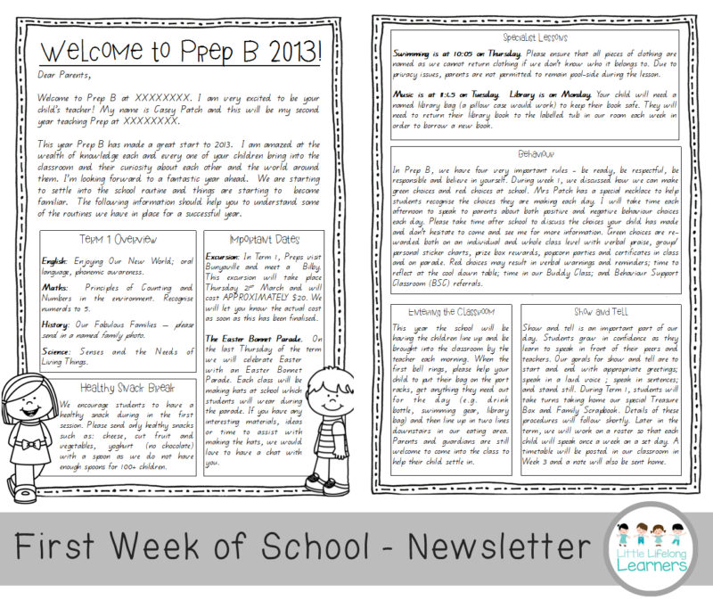 how to survive the first week of prep - newsletter