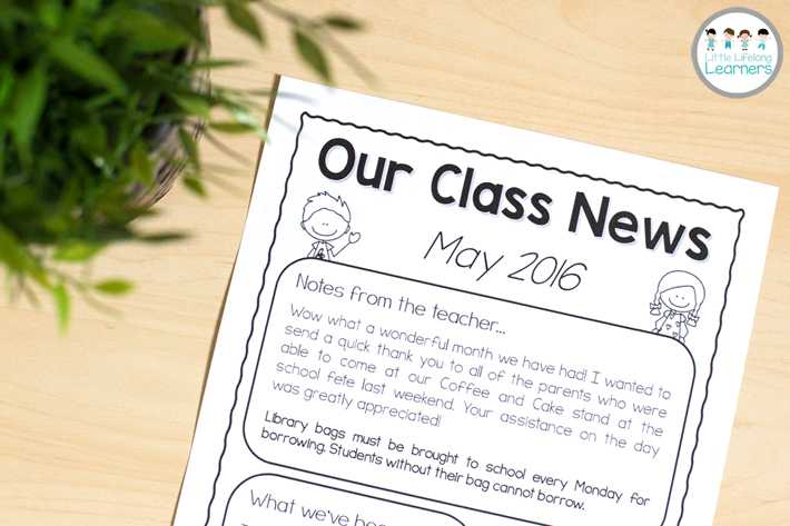 Building positive relationships with parents with free classroom newsletter template