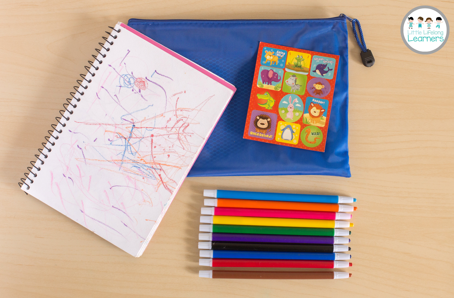 Busy Bags for Toddlers - Drawing and Sticker Pad