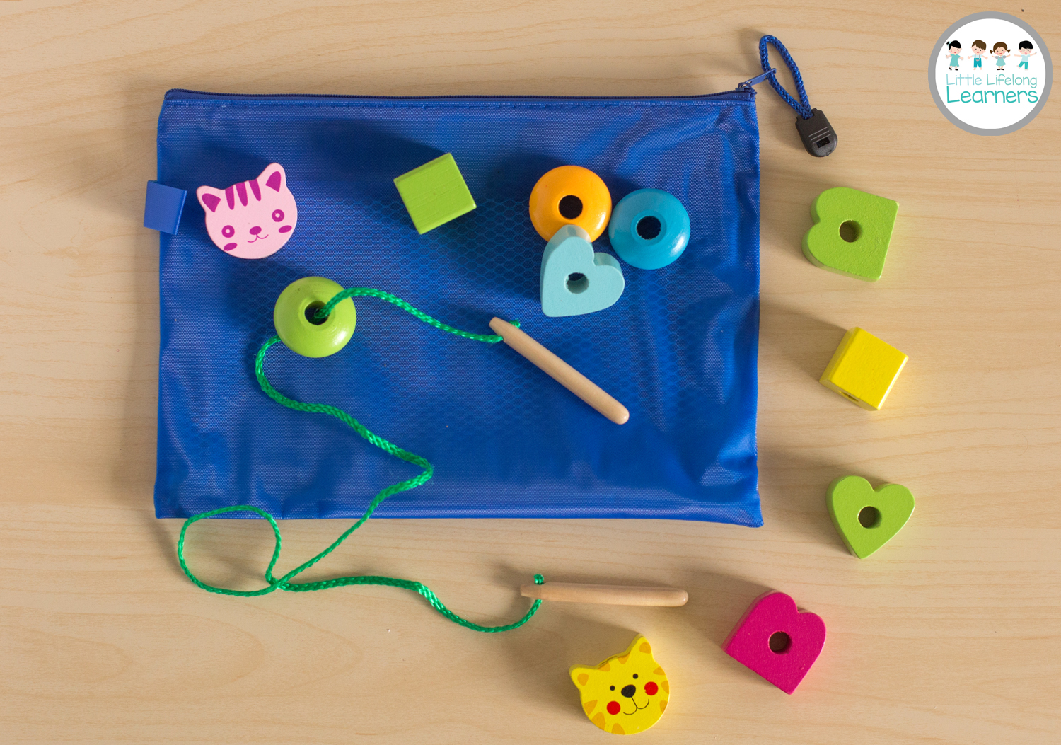 Busy Bags for Toddlers - Wooden Bead Threading