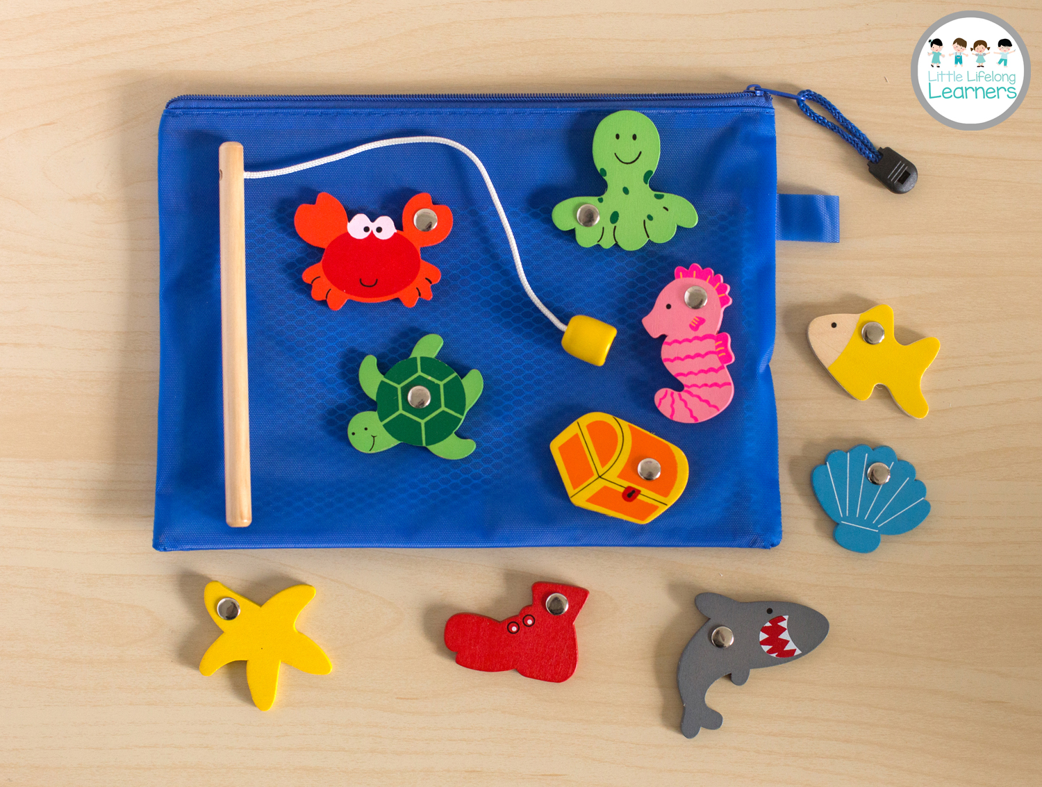 Busy Bags for Toddlers - Wooden Fishing Game
