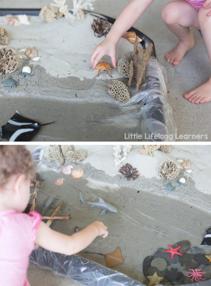 Ocean Themed Small World Tub | Toddler play ideas for developing oral language skills and imaginative play | Ideas for learning at home | Play-based learning |