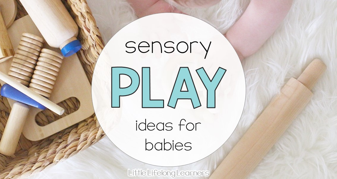 Sensory play ideas for babies | discovery baskets | musical sensory bottles | water play | activities for playing with your baby | 3 month old | 6 month old | learning at home | exploring touch, feel, taste, small and sound | exploring the 5 senses