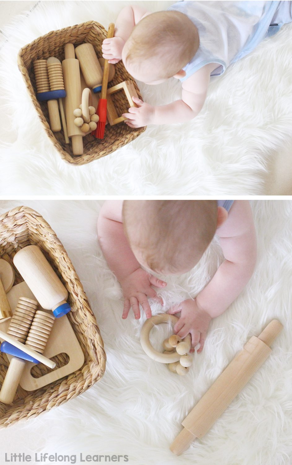 Sensory play ideas for babies | discovery baskets for babies | activities for playing with your baby | 3 month old | 6 month old | learning at home | exploring touch, feel, taste, small and sound | exploring the 5 senses