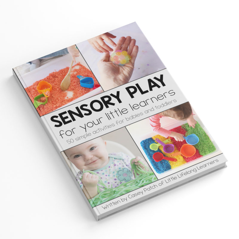 Sensory Play for your Little Learners eBook   play ideas for newborns, babies and toddlers   3 months, 6 months, 9 months, 12 months, 1 year old  