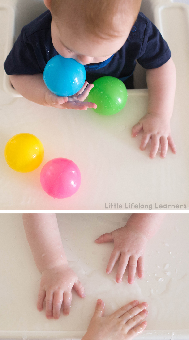 Water play in the highchair | Sensory play ideas for babies | baby play idea | 6 months old | activities for playing with your baby | learning at home | exploring touch, feel, taste, small and sound | exploring the 5 senses