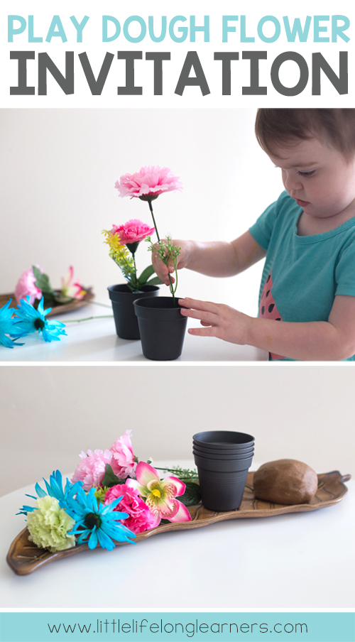 Play dough flower arrangement invitation | imaginative play for toddlers and preschool students | learning through play | hands-on play based learning | fine motor skills | Australian teachers, home schooling, tot school |