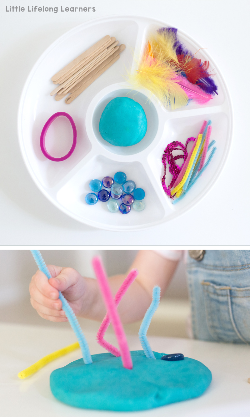 Play dough invitation to create with loose parts | The best no-cook play dough recipe | Perfect activity for babies, toddlers, preschoolers | Teaching ideas for the Prep, Foundation and Kindergarten Classroom | Sensory play ideas |