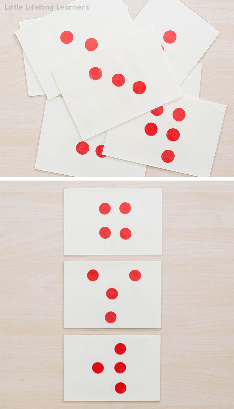 Make your own DIY Subitising cards using 1 inch circle cutters or circle stickers | Teach young children how to subitise using flashcards | hands-on activities for subitising | Australian Curriculum - Numeracy and Number | Prep, Foundation and Kindergarten students |