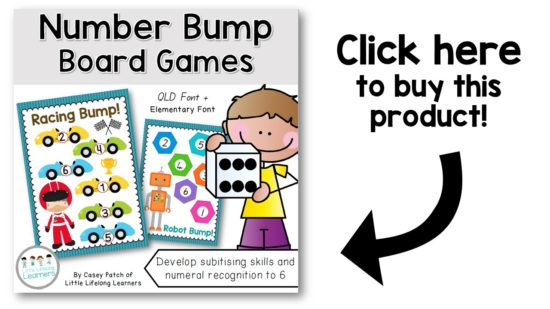 Number bump dice games for subitising | Knowing how many there are in a collection without counting | Fun games for Kindergarten, Prep and Foundation students and children | Australian Curriculum - Numeracy, Number |