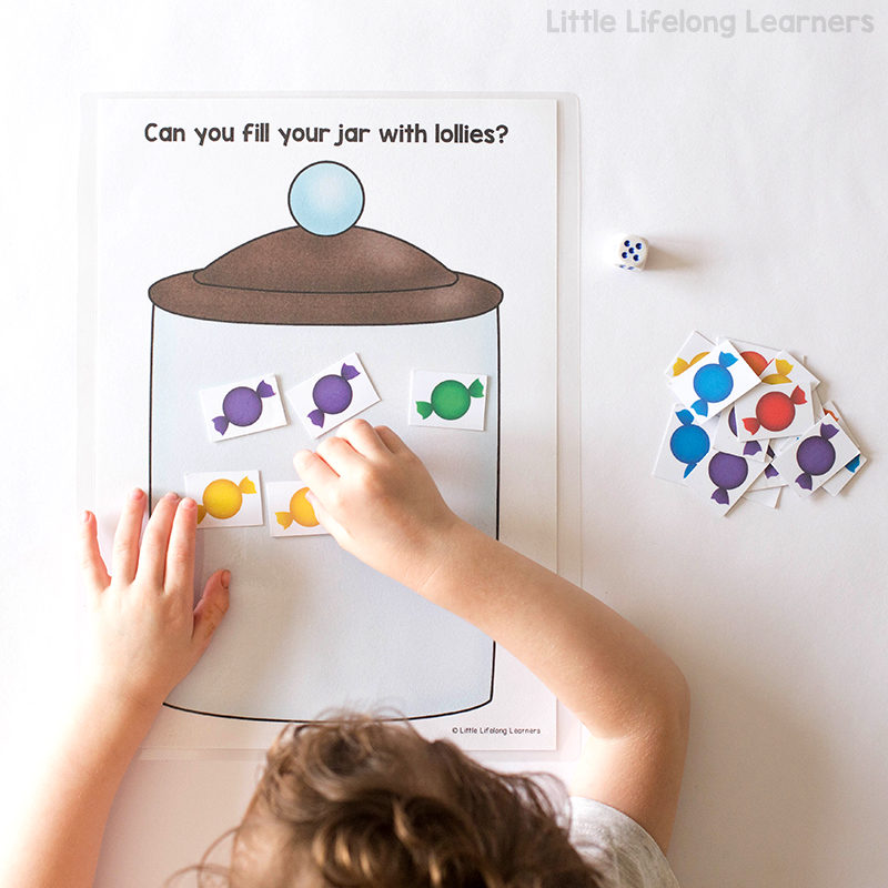 FREE subitising candy dice game for learning how to subitise | Knowing how many there are in a collection without counting | Fun games for Kindergarten, Prep and Foundation students and children | Australian Curriculum - Numeracy, Number |