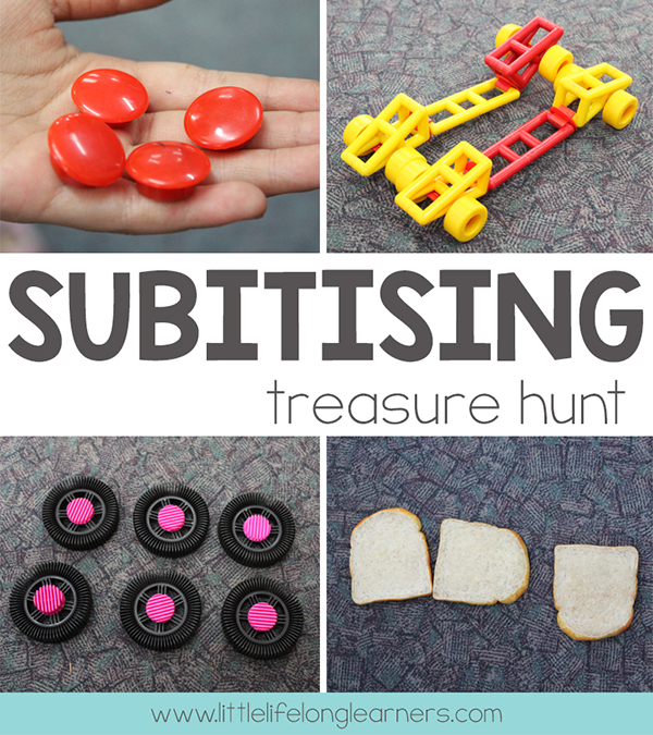 Subitising treasure hunt | Have your students search for collections of items around the classroom | Numeracy, mathematics, hands-on lesson ideas |