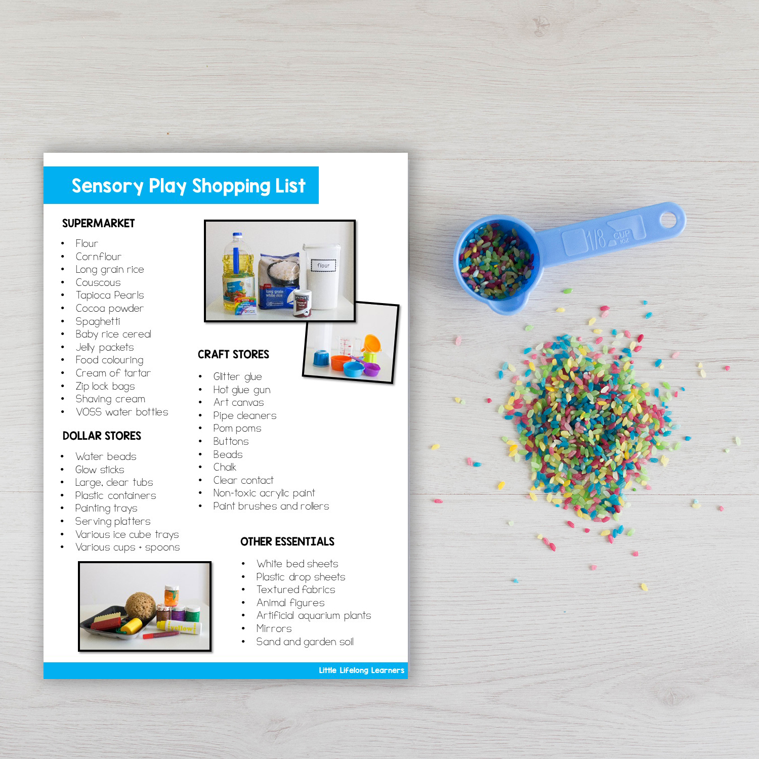 Sensory play shopping list | Supplies for starting sensory play | Sensory play for beginners | play ideas for babies and toddlers |