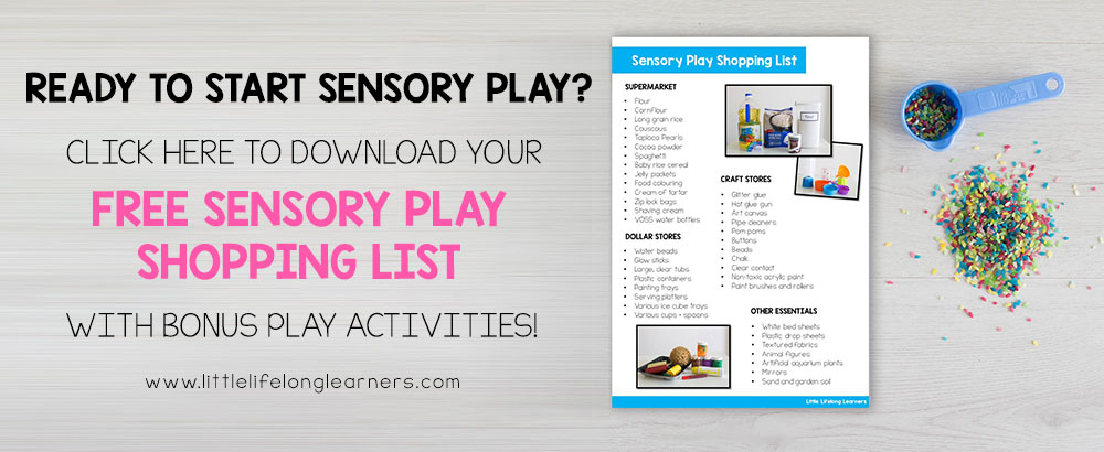 Grab your free sensory play shopping list with three bonus sensory play activities | Play ideas for babies and toddlers |